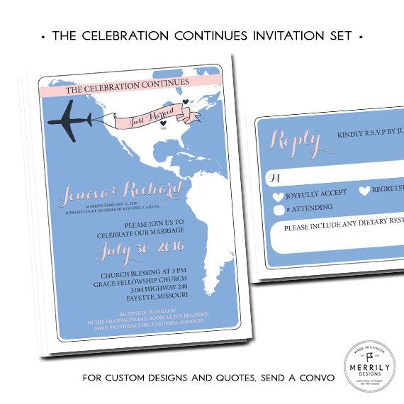 Reception Following Ceremony Wording: Reception Invitation For Following A Destination Wedding