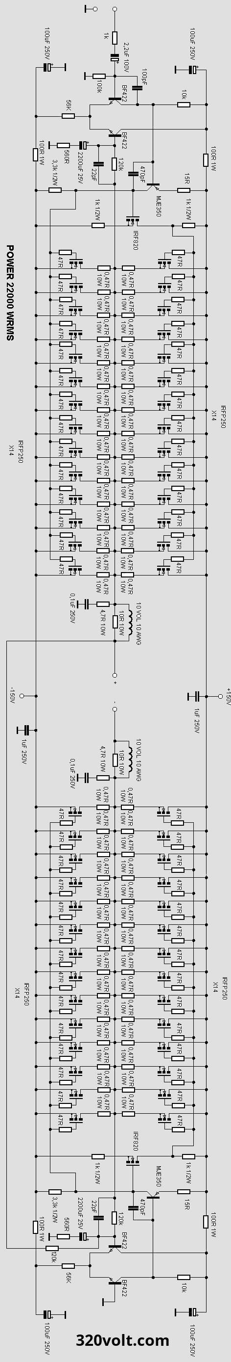 High Power 2200W Amplifier Circuit transistor amplifier ...