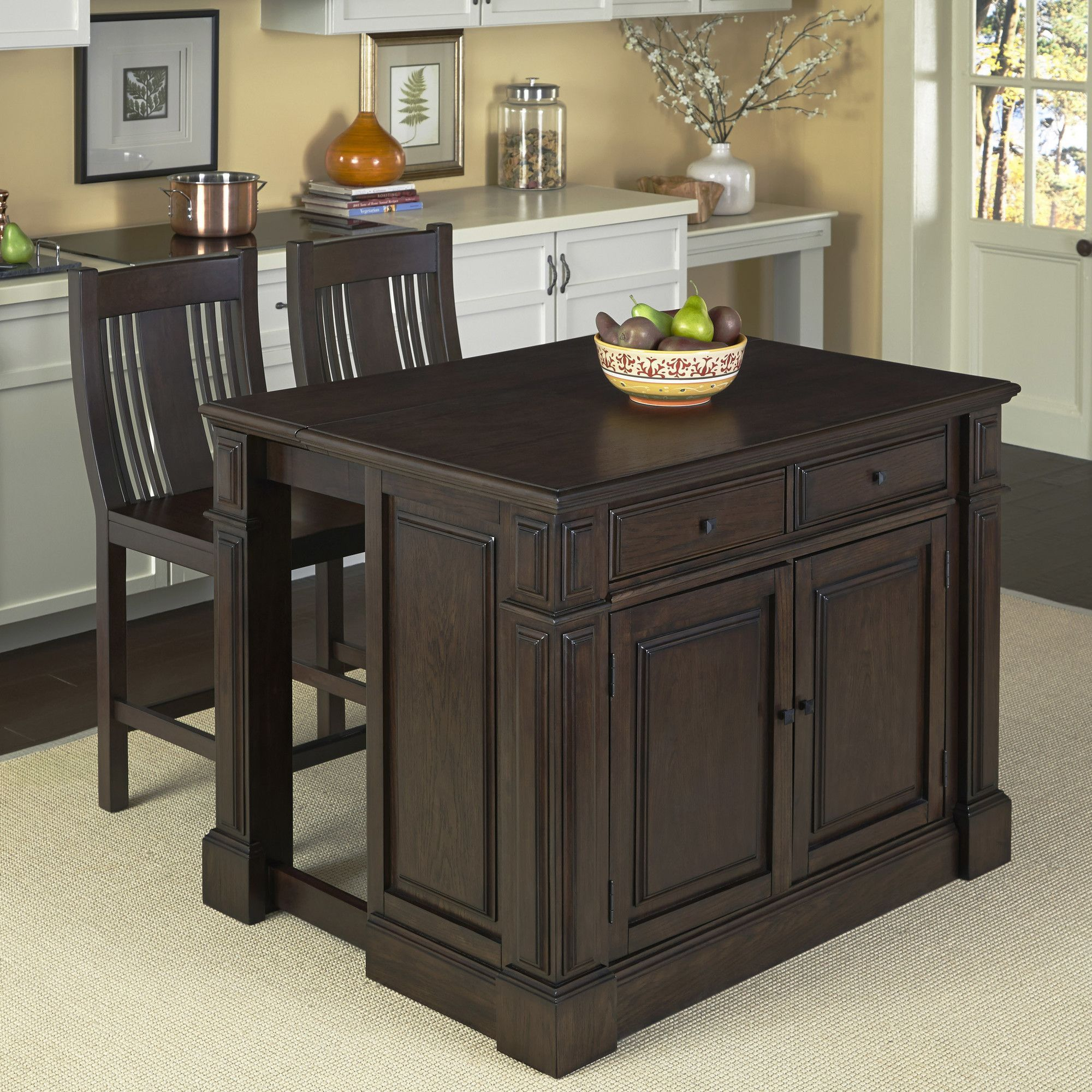 Home Styles Prairie Home 3 Piece Kitchen Island Set Set Of 3 Kitchen Island With Bench Seating Kitchen Island With Seating Eclectic Kitchen