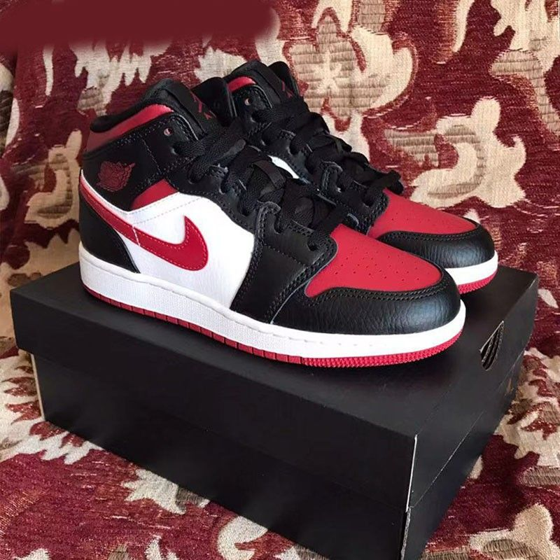 2020 Nike Air Jordan 1 Mid Bred Toe 554724 066 Basketball Shoes Aj1 Unisex Sneakers In 2020 Air Jordans Nike Air Jordan Jordan 1 Mid