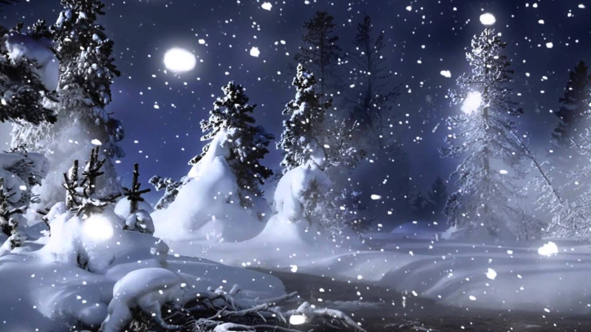 Открытка с падающим снегом и текстом, стоят