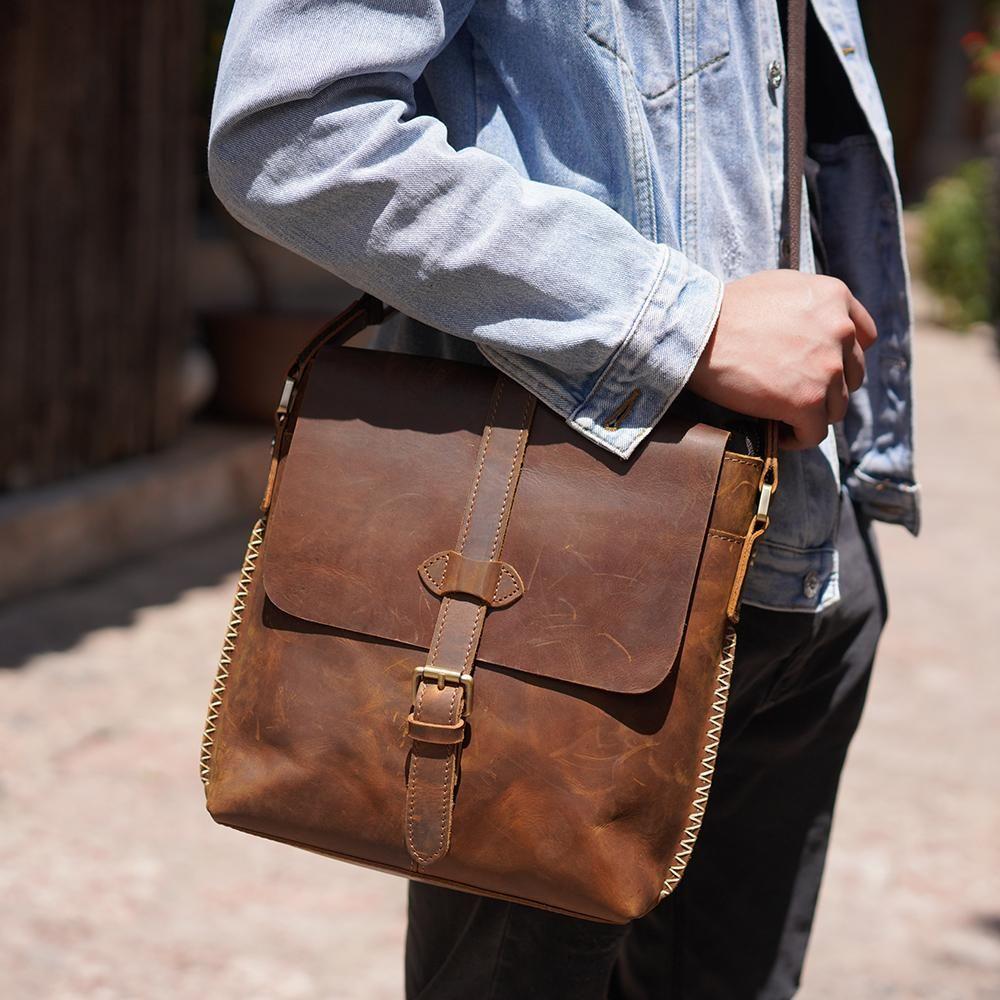 Handmade Leather Messenger Bag For Men Crossbody Bag Small Satchel Bag Ys13 Mens Leather Bag Messenger Bag Men Satchel Bags