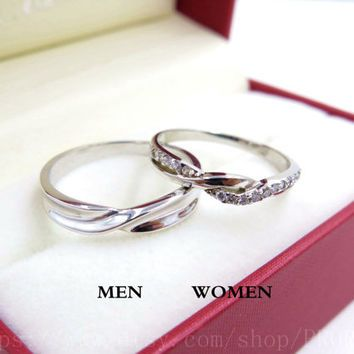 2pcs Free Engraving Platinum Promise Rings Wedding Couple Infinity Ring His And