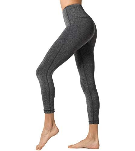 LAPASA Legging Femme Pantalon de Sport avec Poches Yoga Fitness Gym Pilates  Taille Haute Gaine Large L01 12. Gris Foncé Chiné S 30c656604e6