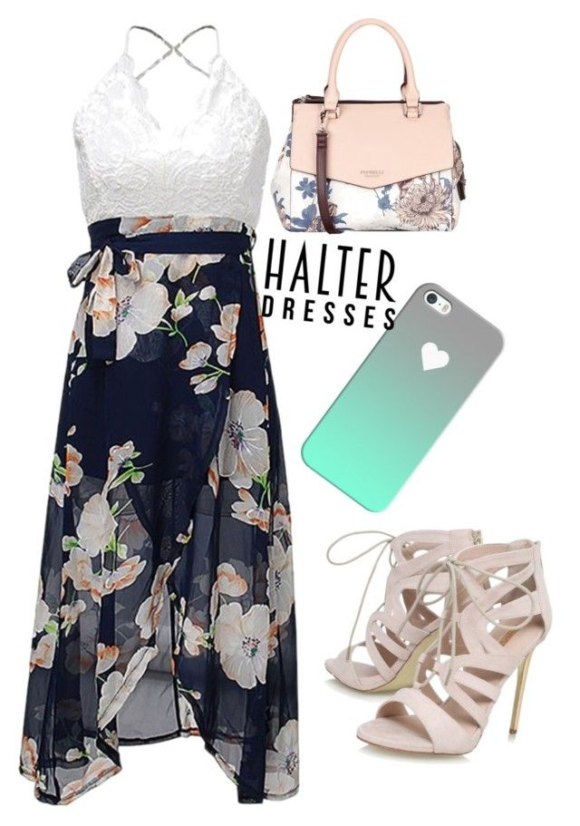 """Halter dress"" by haneysteph ❤ liked on Polyvore featuring Fiorelli, Casetify, Carvela and halterdresses"