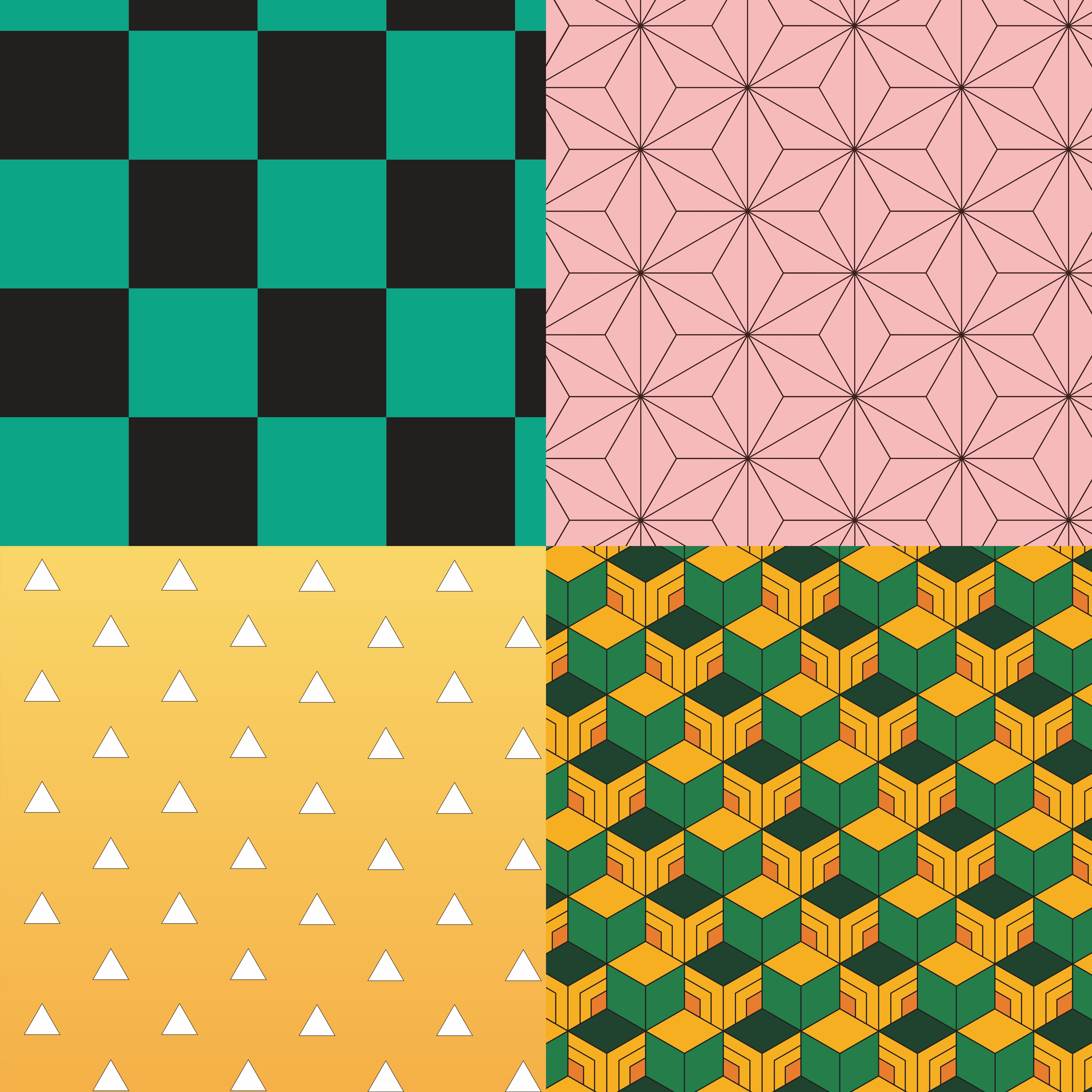 Kimetsu No Yaiba Pattern Demon Slayers Pattern Pack Etsy Pattern Demon Printing On Fabric