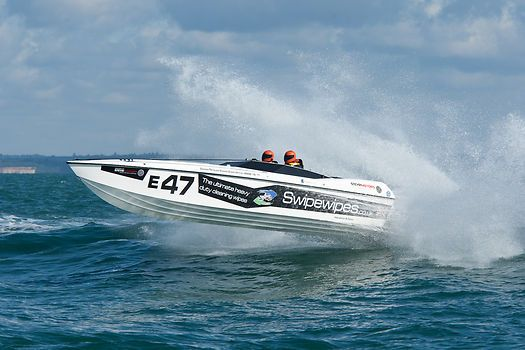 The XS-IF Marine marathon boat Swipewispes.co.uk during the Cowes Classic Cowes-Torquay-Cowes Powerboat Race.