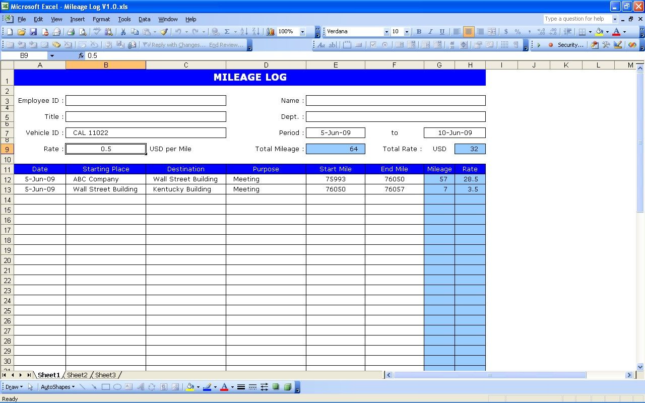 This is a common mileage log used by many companies to
