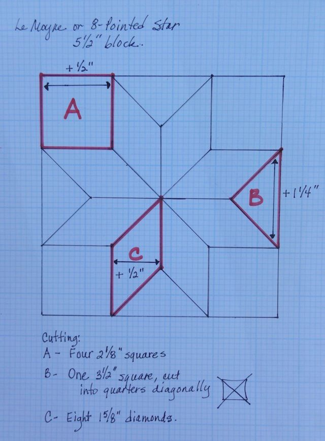 Drafting, Part 2: Making an 8-Pointed or Lemoyne Star in Any Size