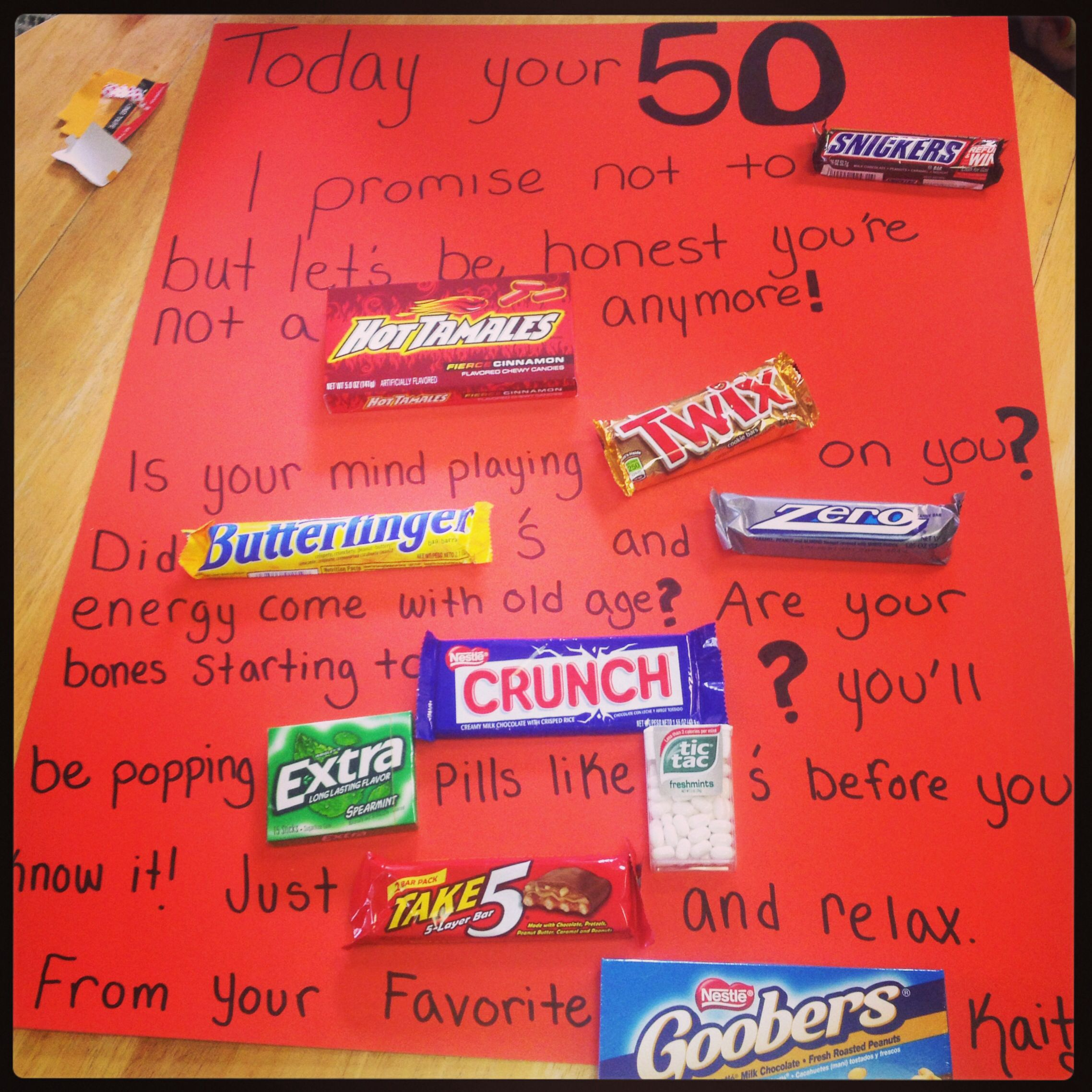 50th Birthday Cute Funny Candy Poster Board
