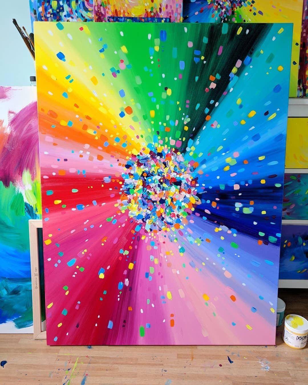 Sarah Coey Art Rainbow Acrylic Painting