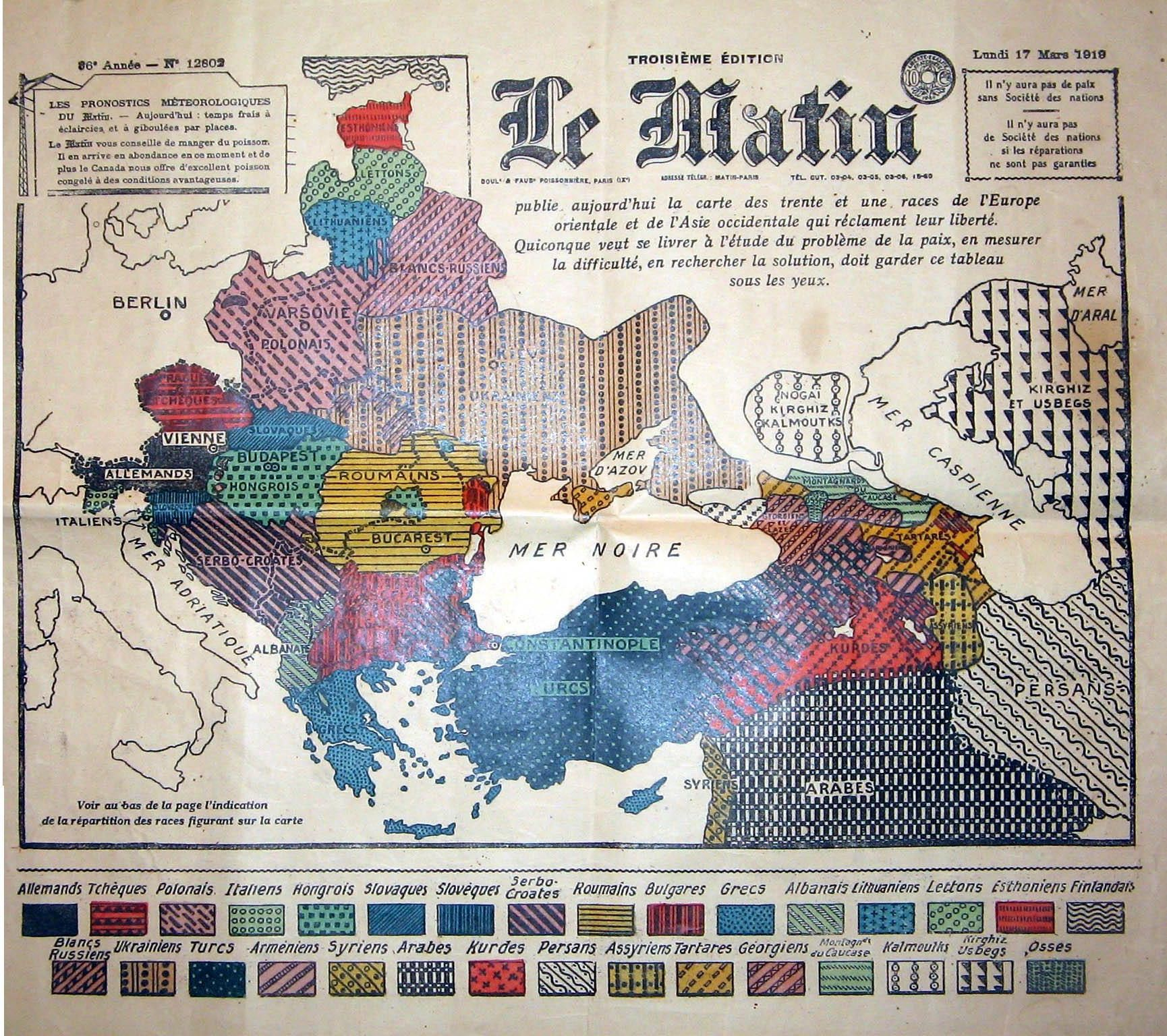 Ethnographic map of Europe and Asia minor