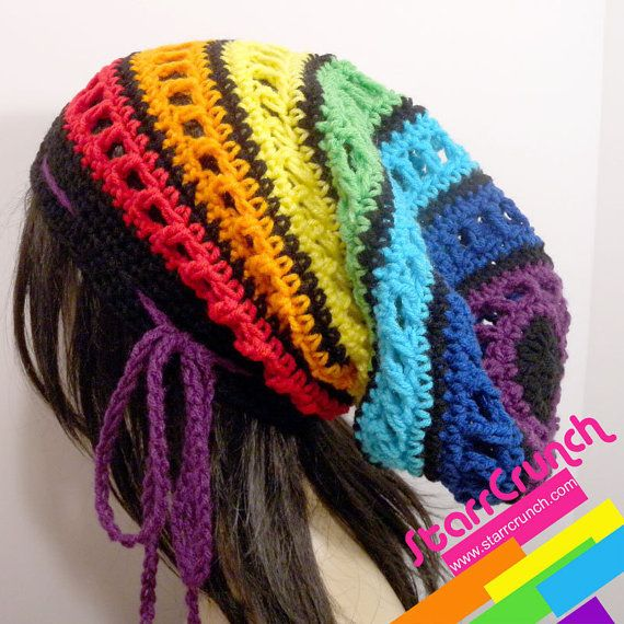 Slouchy Dread Tam Snood Crochet Hat in Chakra Rainbow Stripes