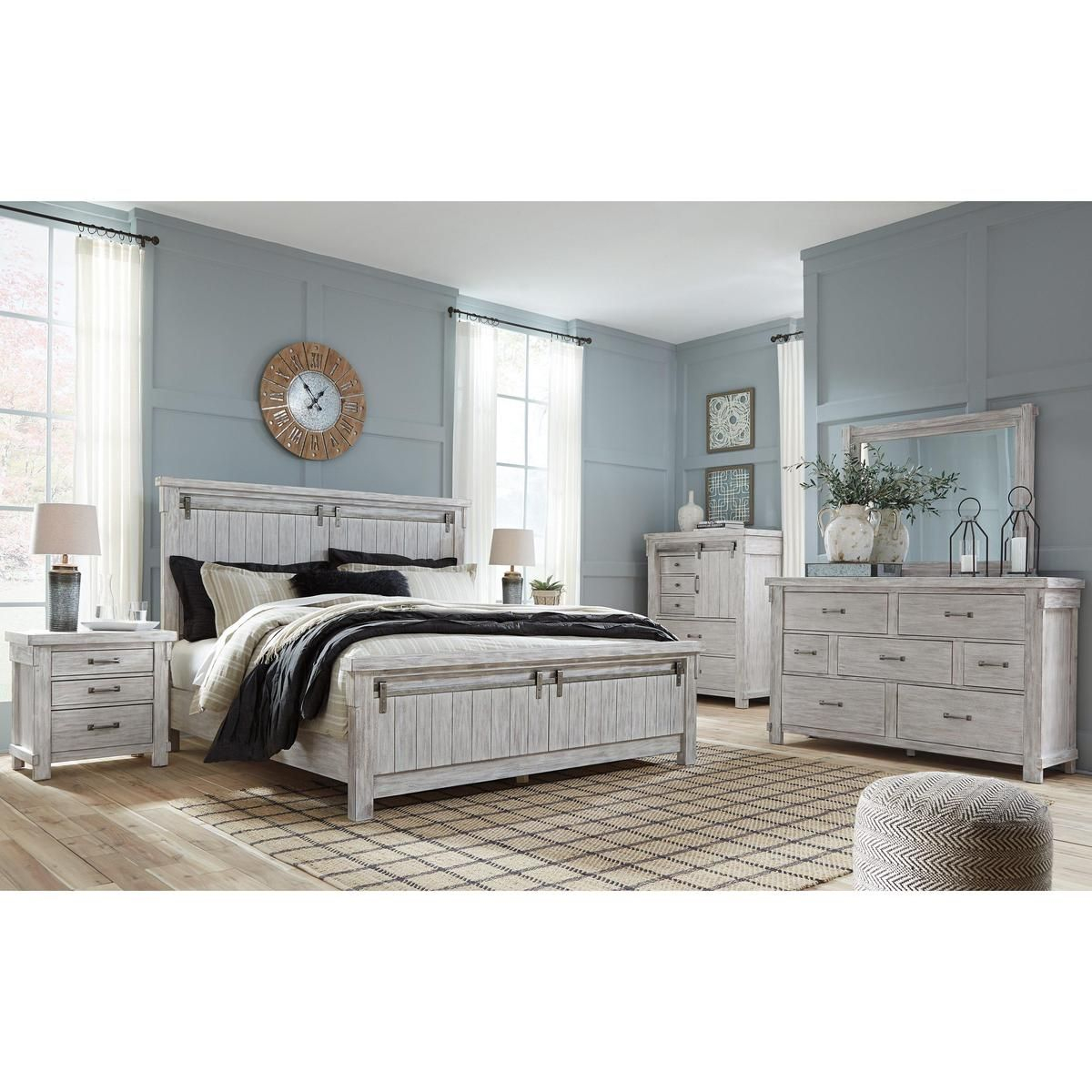 Made With Acacia Veneers And Select Hardwood Solids And Finished In A White Textur White Washed Bedroom Furniture King Size Bedroom Sets Bedroom Furniture Sets