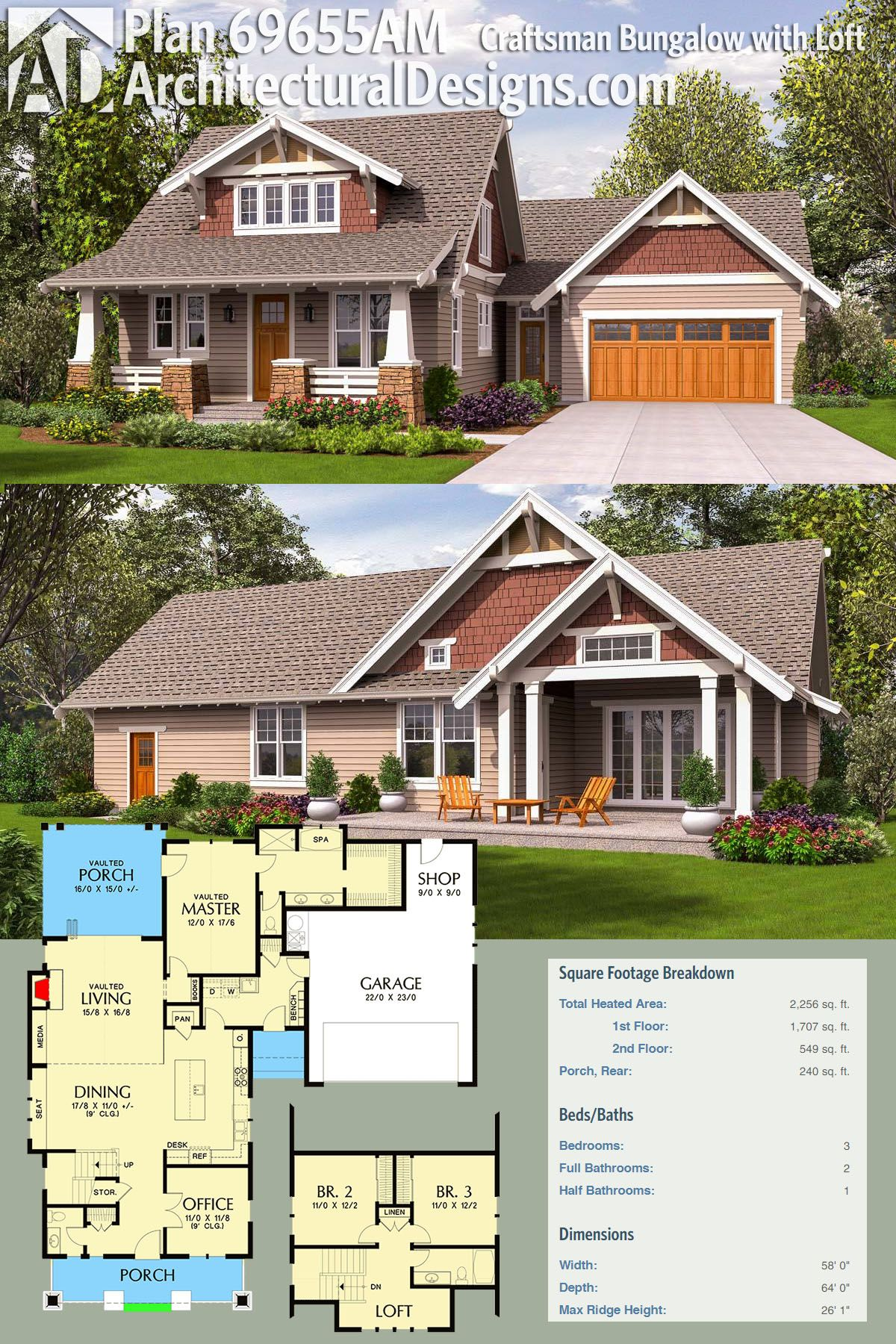Architectural Designs Bungalow House Plan 69655AM gives