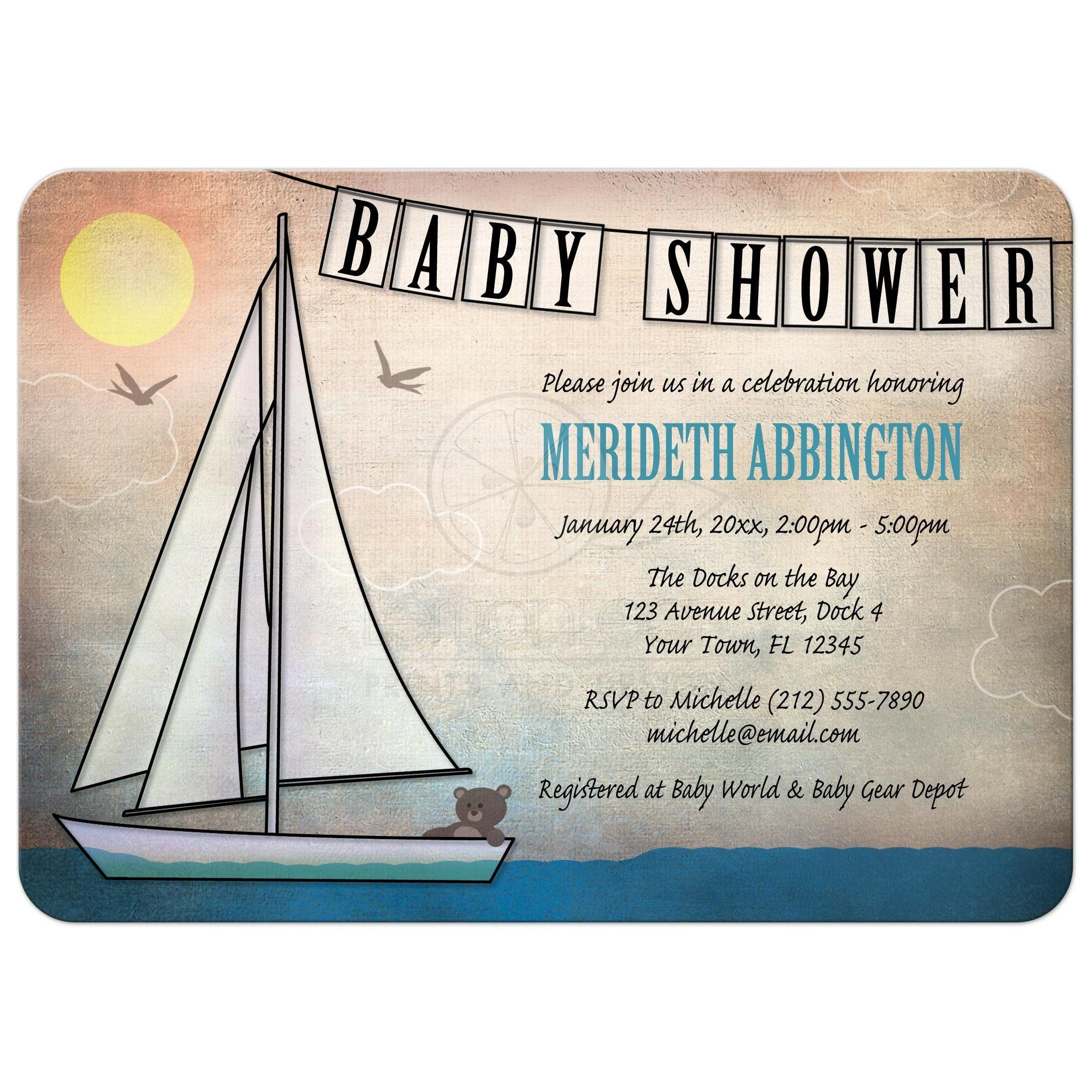 Baby Shower Invitations - Rustic Nautical Teddy Bear Sailboat ...