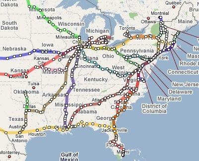 Train Map Eastern Us