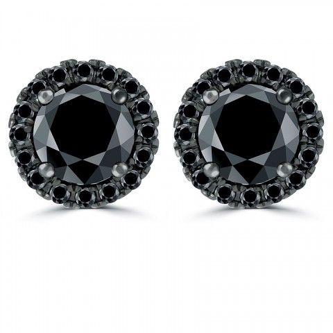 1 95 Carat Fancy Black Diamond Pave Halo Diamond Studs Earrings 14k Black Gold Diamond Earrings Studs Diamond Studs Diamond Stores