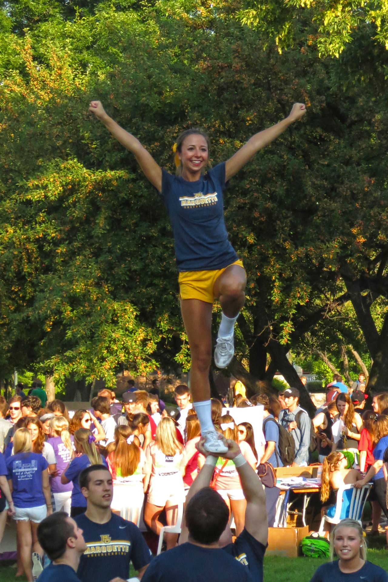 Cheerleaders perform at marquette universitys