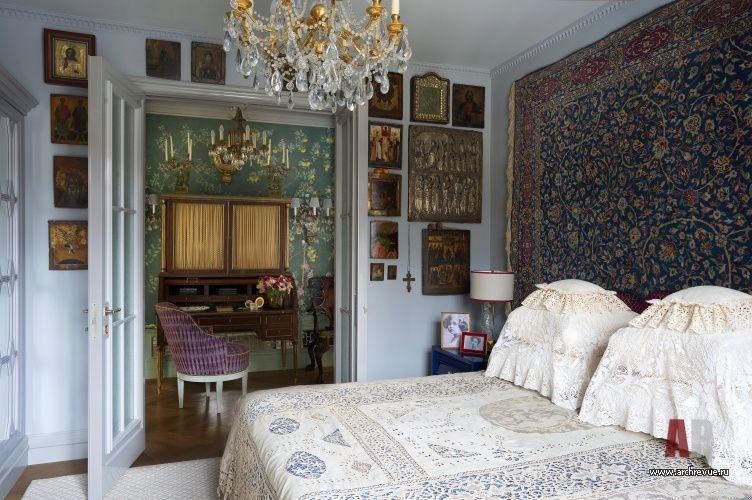 фото интерьера спальни небольшой квартиры в стиле фьюжн интерьер