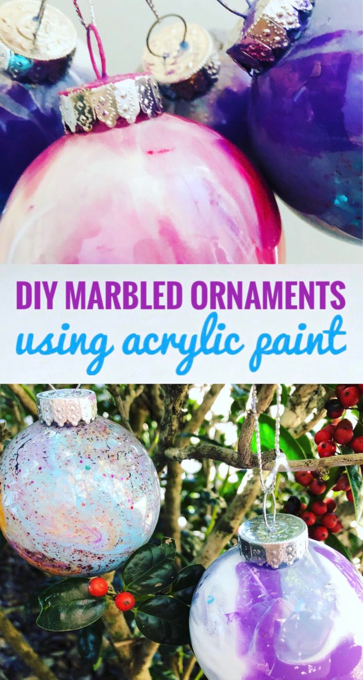 Diy Marbled Ornaments With Acrylic Paint Glitter On A Dime In 2020 Ornaments Ornament Crafts Marble Ornaments