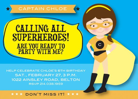 Printable superhero invitation Girl by PrettiestPrintShop on Etsy