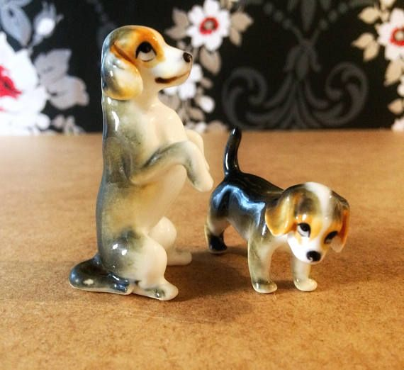 Miniature Beagle And Puppy Porcelain Dog Figurines Vintage