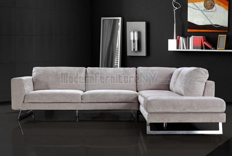 Image Detail For Beige Microfiber Modern Sectional Sofa With Chrome Metal Legs Ny Vgss