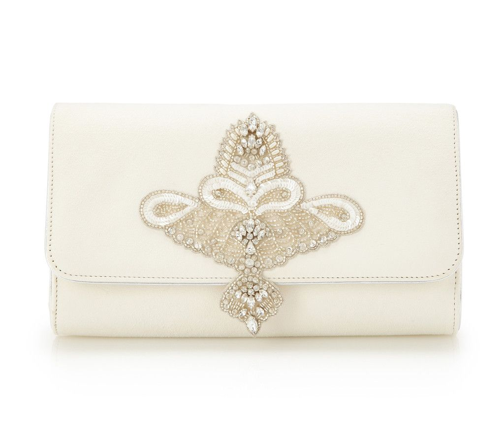 Buy Aurelia Ivory Suede Wedding Clutch Bag | Emmy London