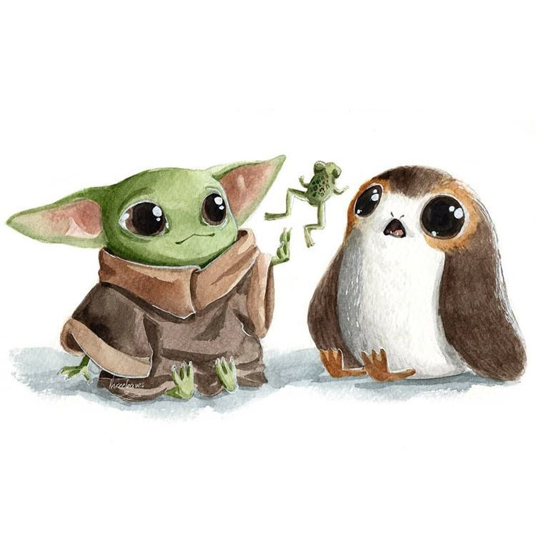 Threeleaves On Instagram Baby Yoda Doing Some Wingardium Leviosa With Baby Porg Painting Traditionalpai Star Wars Art Yoda Wallpaper Disney Star Wars