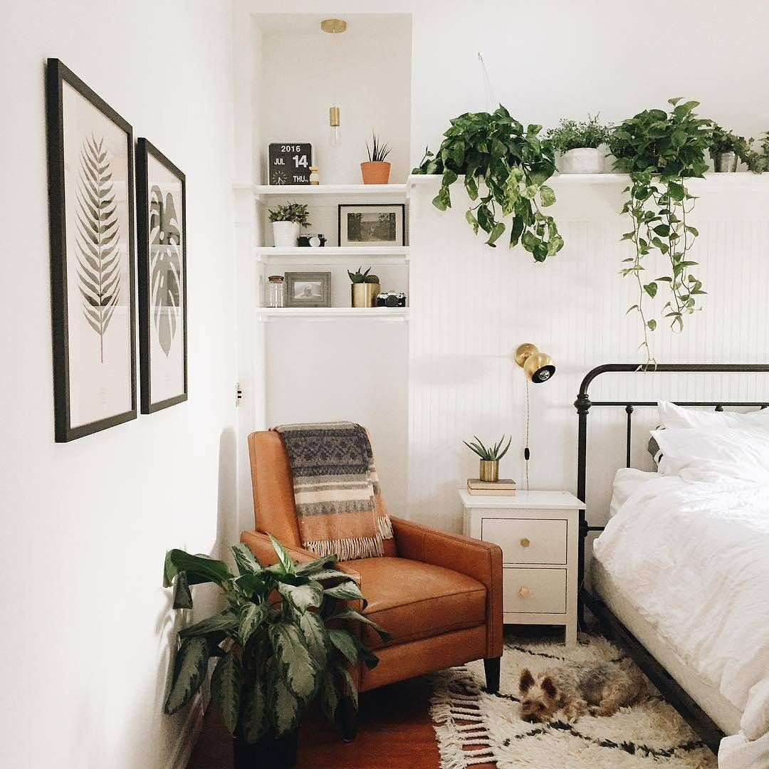 Prints Plants Chair Throw Bedroom Nook Perfection