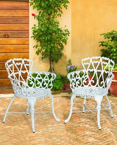 Antique Victorian Cast Aluminum Patio Dining Chairs White Heart Set Of Two