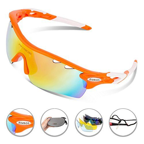 d5a8622308d RIVBOS 801 POLARIZED Sports Sunglasses with 5 Interchangeable Lenses  (UpGrade TR Orange) -  sunglasses