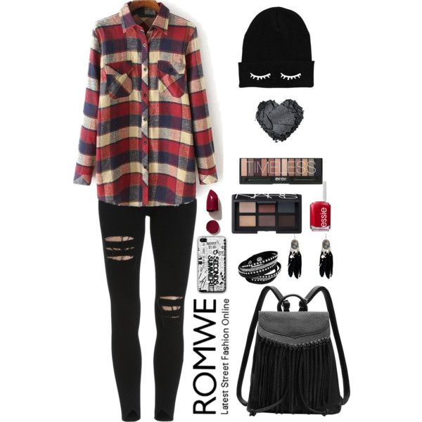 Romwe 8 by amra-f on Polyvore featuring мода, NARS Cosmetics, Essie, black, 1d, romwe, plaid and 5sos