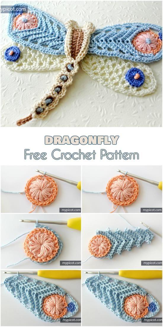Motif de crochet gratuit libellule   – Yarn and Crochet
