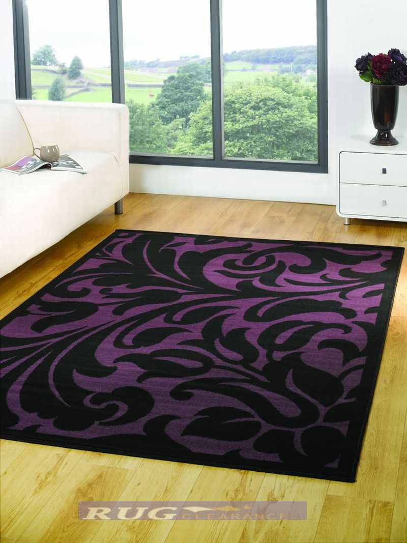 Pruple Black Woven Rug Large Modern Warwick Black Purple