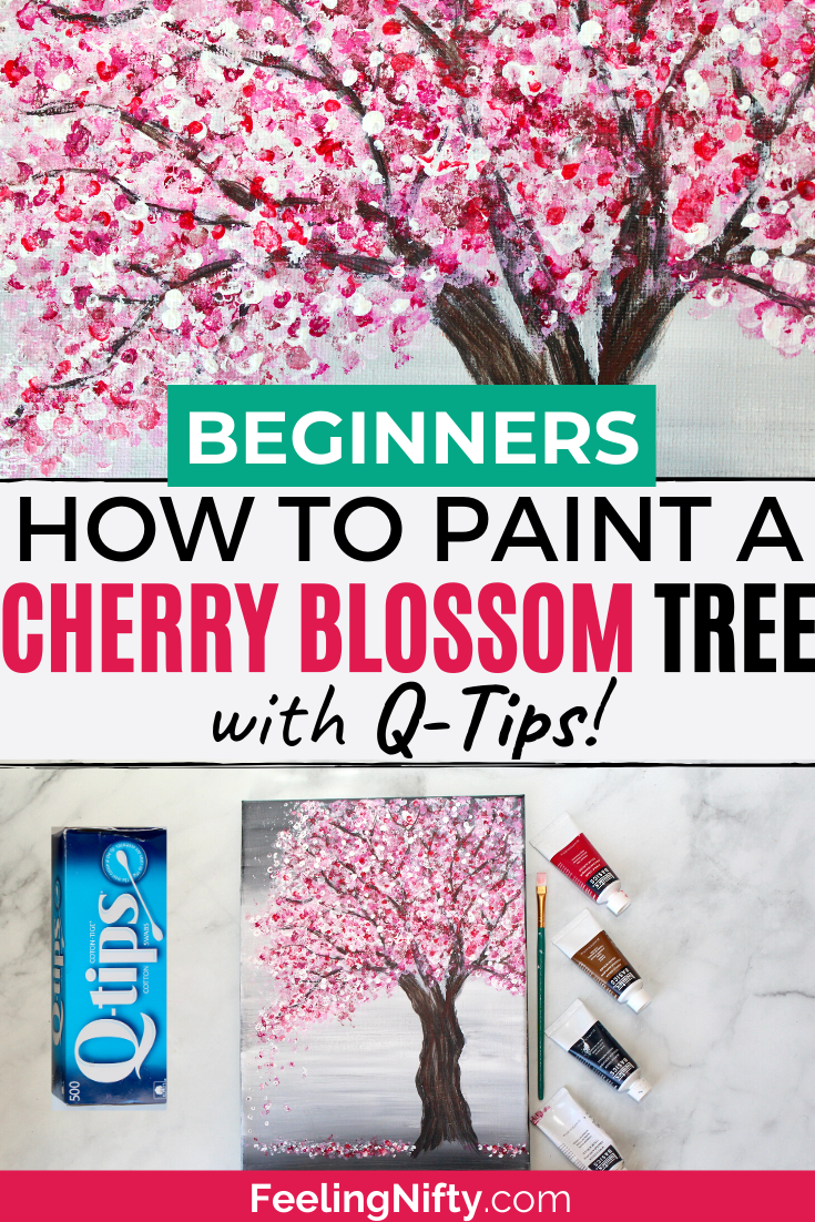 Painting A Cherry Blossom Tree With Acrylics And Cotton Swabs Cherry Blossom Art Cherry Blossom Tree Cherry Blossom Painting