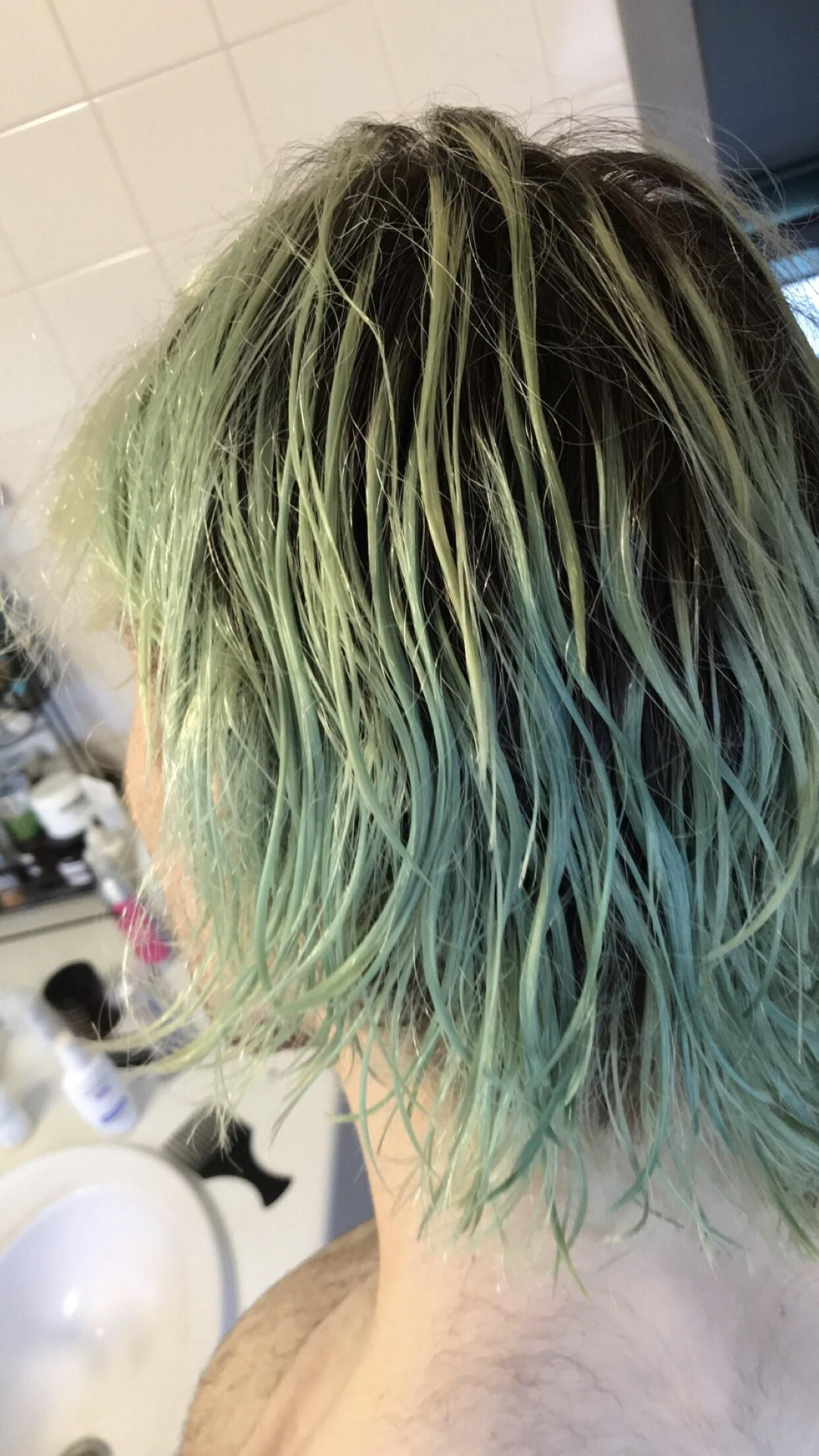 I Dyed My Bleached Hair A Mixture Of Blue Purple Tried To Remove Colour To Go Back To Blonde With Vitamin C And Co Bleached Hair Hair Color Remover Hair Stain