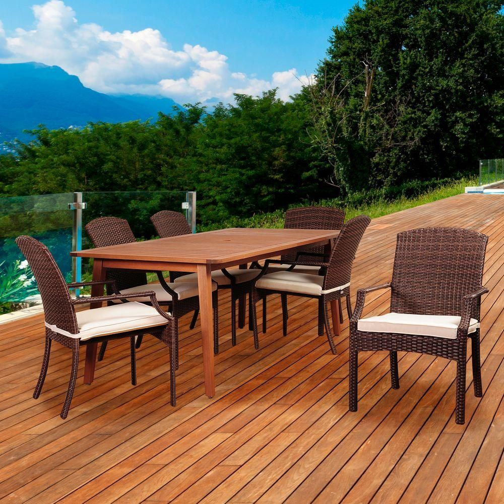 Amazonia Oasis Piece EucalyptusWicker Rectangular Patio Dining