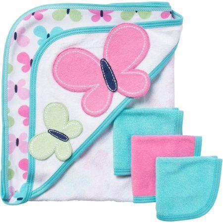 Gerber Newborn Baby Girl Bath Set, 4Piece