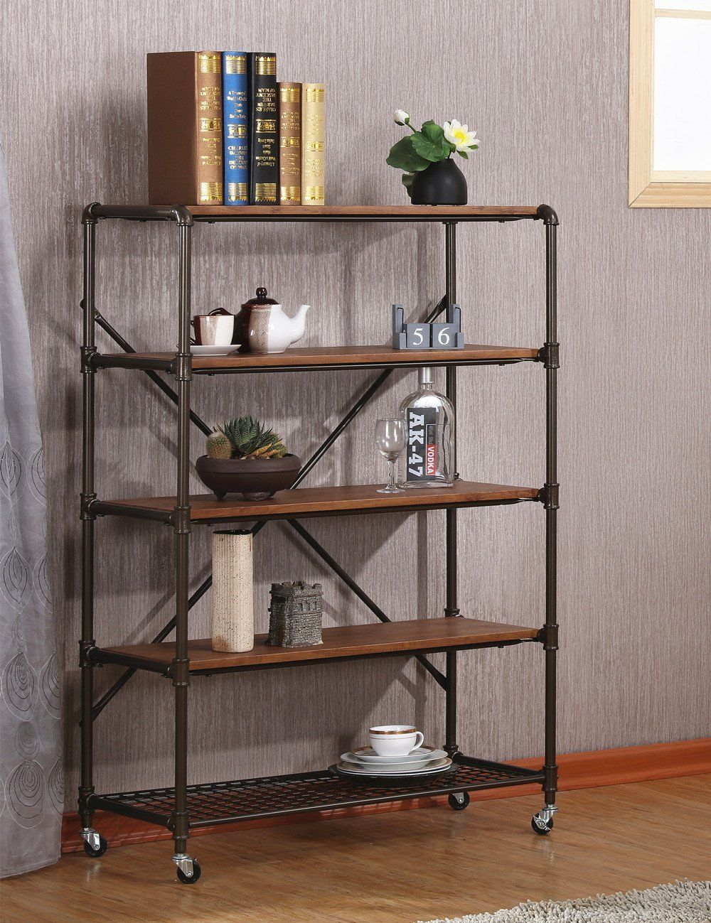 Amazon com ok furniture 5 shelf industrial bookshelf with wheels display storage rack 45 5h kitchen dining