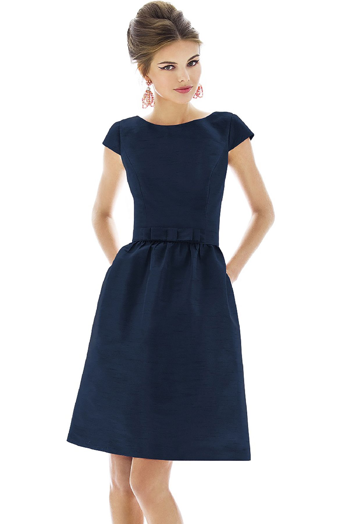 Alfred Sung D568 Quick Delivery Bridesmaid Dress in Navy blue