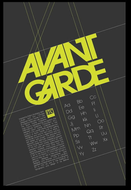 Avant Garde Type Spec Poster Student Work Typeface Poster Typography Layout Graphic Design Typography