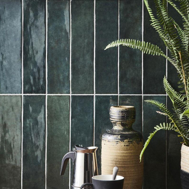 Carrelage Mur Vert Fonce Brillant L 7 5 X L 30 Cm Bakerstreet Leroy Merlin Carrelage Murs Vert Fonce Mur Vert