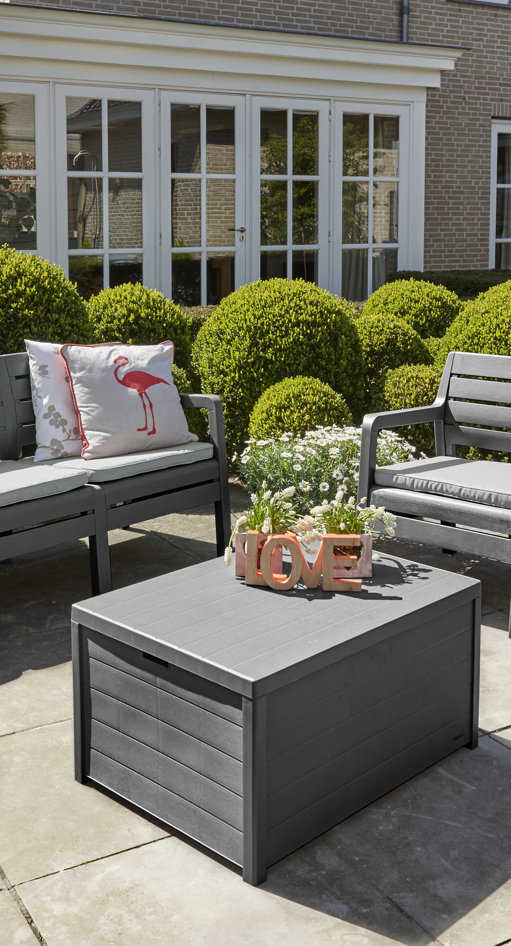 Grey Outdoor Lounge Set With Cushions