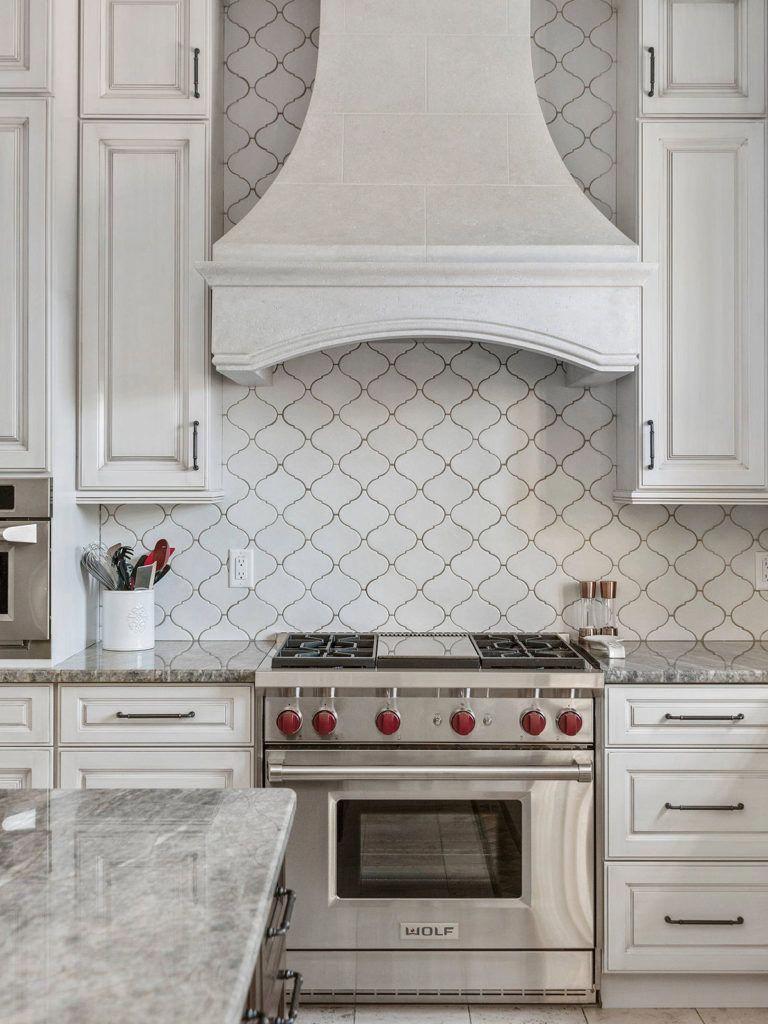 White Ceramic Arabesque Backsplash Tile Rustic Kitchen