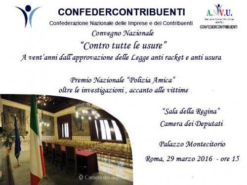 Contro tutte le Usure convegno nazionale a Roma