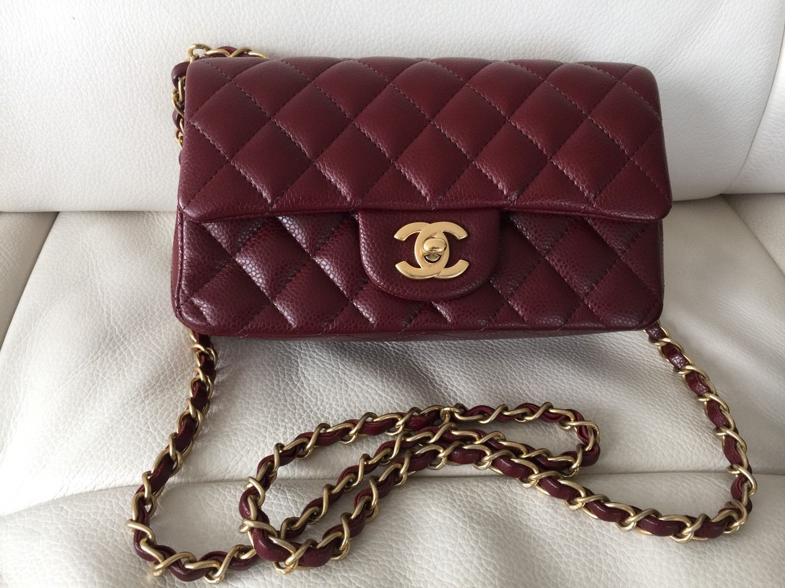 fd231b0c4e996b Chanel caviar burgundy red rectangle mini classic flap - authentic $3300.0