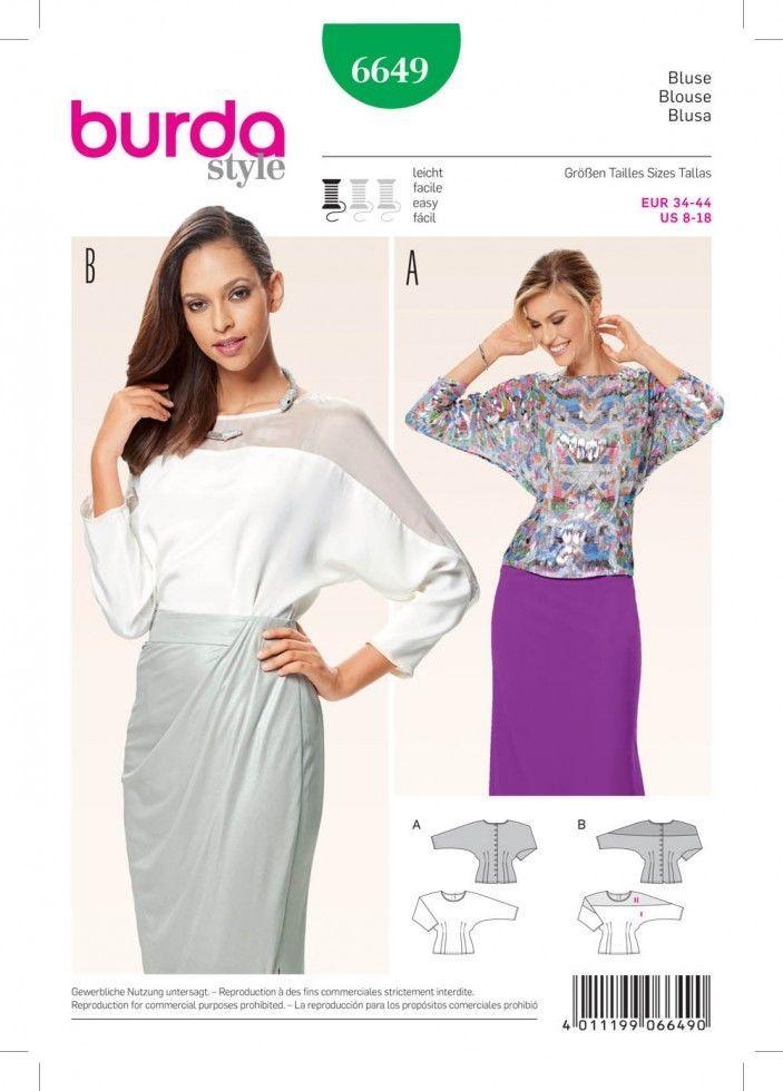 Free UK P&P - Burda Ladies Easy Sewing Pattern 6649 Back Button ...