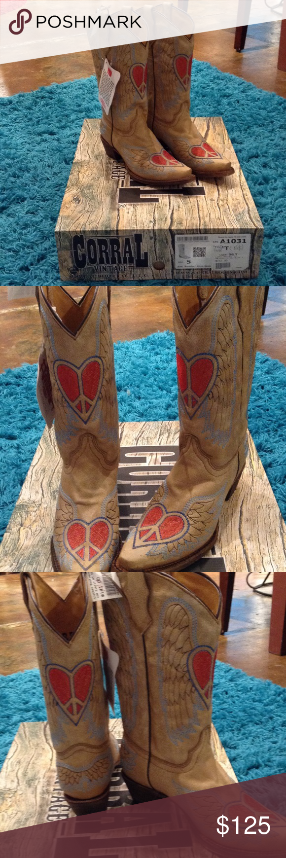 Kids Coral Cowboy Boots This is a Kids/Teen size 5. NWT. So cute on! Corral Shoes Heeled Boots